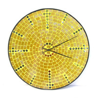 Extra large golden yellow mosaic wall clock handmade home decor contemporary art modern design home decor