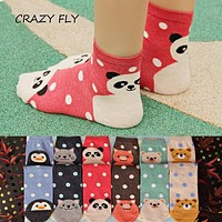 CRAZY FLY 2018 Animals Striped Cartoon Winter Socks Women Footprints Cotton Socks Floor Harajuku interesting Winter Socks gift