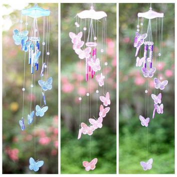 Crystal Butterfly Wind Chime Bell Garden Ornament Lucky Hanging Decor