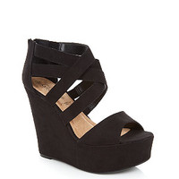 Black Crossover Strappy Peeptoe Wedges