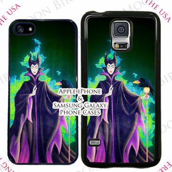 Disney Sleeping Beauty Maleficent Phone Case For Apple iPhone 4, 4s, 5, 5s, 5c, 6, 6+ Touch 5. Black, White or Clear Phone Case