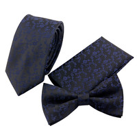 New Fashion Skull Handkerchief Tie Set for Men Suit Polyester Burgendy Polka Dots Pocket Square Bow Tie Set for Wedding Party