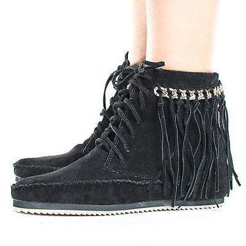Indy01 Black By Bamboo, Fringe & Gold Chain Lace Up Women's Moccasin Boots