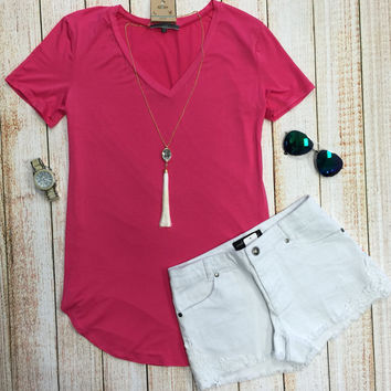 Vicky Basic V Tunic Top: Fucshia