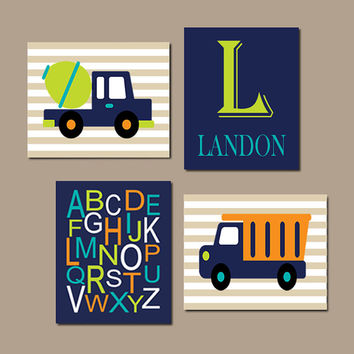 Baby Boy Nursery Wall Art CONSTRUCTION Nursery Construction Trucks Boy Nursery Decor Navy Boy Bedroom Boy Playroom Set of 4 Prints Or Canvas