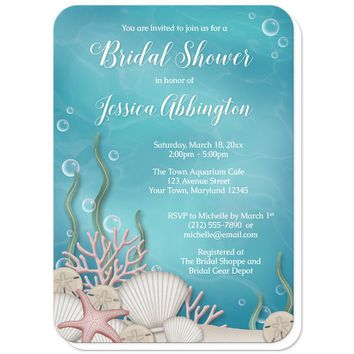 Whimsical Under the Sea Bridal Shower Invitations
