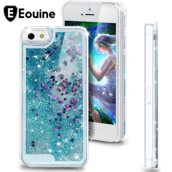 Dynamic Liquid Glitter Sand Quicksand Star For iphone 4 4S 5 SE 5C 5S 6 6S 7 Plus Case Crystal Clear Back Cover Coque Fundas