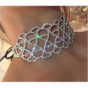 Adeline- Crystal Rhinestone Ribbon Choker Necklace