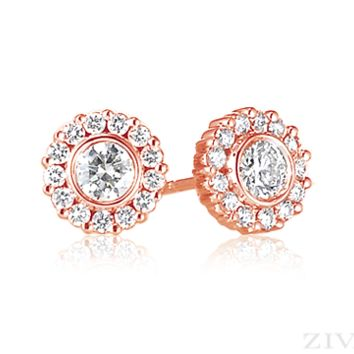 Ziva Rose Gold Diamond Studs with Halo