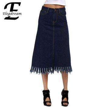 CREYNW6 Elegdream S 5XL Plus Size Clothing Fashion Lady Tassel Skirt High Waist Women Denim Pencil Jean Skirts Calf Length Summer Style