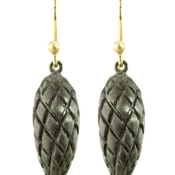 Ted Muehling Black Plate Pine Cone Earrings