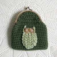 Crocheted Coin Purse, Forest Green colored Yarn, Crocheted Olive Green Owl Applique, Kisslock, makeup bag, wallet, stocking stuffer