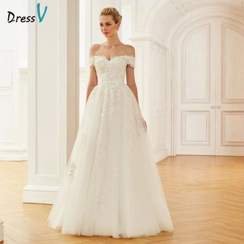 Dressv Ivory Long Wedding Dresses Off The Shoulder Ball Gown Lace Tulle Zipper Up Elegant Church Garden Custom Wedding Dresses
