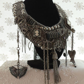 Steampunk Necklace Bib, Silver n Black, Chains n Charms, Treasures and Trinkets, Large Statement Haute Couture Accessory