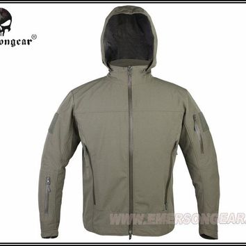 Hunting Combat EMERSON Outdoor Light Tactical Soft Shell Jacket Hooded Breathable perspiration Foliage Green FG EM6873F