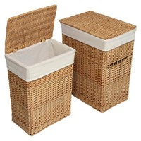 Set of 2 Hampers with Liners - Natural