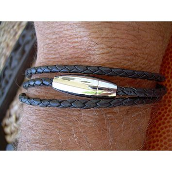 Black Braided Triple Wrap Mens Leather Bracelet with Stainless Steel Magnetic Clasp - MB13 Urban Survival Gear USA