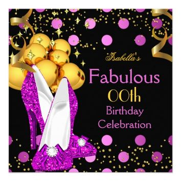 "Pink High Heels Gold Polka Dot Birthday Party 5.25"" Square Invitation Card"