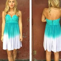 Teal and Purple Ombre Print Strapless Sweetheart Dress