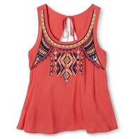 Junior's Embroidered Tie Back Tank - Assorted Colors