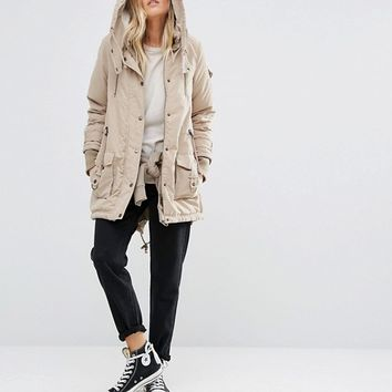 Noisy May Fishtail Hem Parka Jacket at asos.com