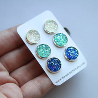 Faux Druzy Earring Set - Posts - Chunky Clear/Rainbow, Turquoise, Blue LARGE