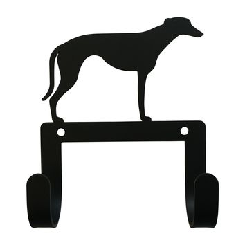 Wrought Iron Greyhound Dog Leash & Collar Wall Hook
