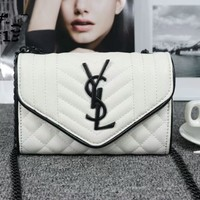 """Yves Saint Laurent YSL"" Women Personality Fashion V Line Rhombus Grid Metal Chain Single Shoulder Messenger Bag"