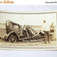 ON SALE Vintage Photo Wrecked Jalopy Antique Car , Smashed Tin Lizzie , Car Dug Out of Flood Debris , Glossy Black/White Snapshot with Borde