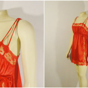 SALE Vintage Nightgown 60s Pinehurst  Red Nylon Satin & Lace Nightie Made In USA size Small Modern XS - S