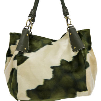 Off White and Forest Green Faux Fur Patterned Purse