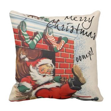Santa Down the Chimney Oomph Pillow