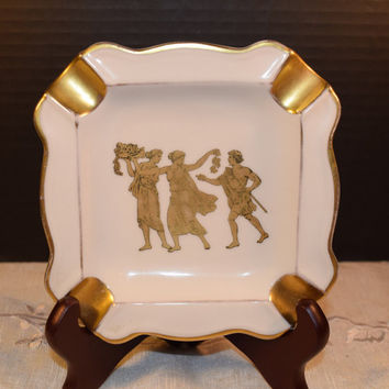 Bavaria Greek Ashtray Vintage Gold Grecian Ashtray Square Gilded Ashtray West Germany Bavaria Fine Porcelain Grecian Scene Wedding Gift