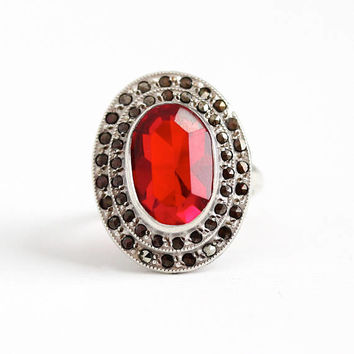 Vintage Art Deco Sterling Silver Simulated Ruby & Marcasite Ring - 1930s Size 7 Oval Red Glass Stone Cluster Shield Statement Uncas Jewelry