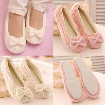 New Fashion Women Knitted Home Shoes Soft Sole Bowtie Crochet Indoor Shoes Slippers Da