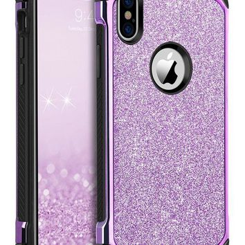 ONETOW iPhone X Case, iPhone X Phone Case, BENTOBEN Shockproof Glitter Sparkle Bling 2 in 1 Hybrid with Shiny Faux Leather Hard Case Soft Bumper Protective iPhone X / 10 Cover for Girl Women, Purple
