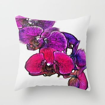 :: Orchids at Breakfast :: Throw Pillow by :: GaleStorm Artworks ::