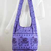 Dark violet, Cotton, Printed Standing Coral, Crossbody, Shoulder bag, Hippie, Boho, Hobo, Messenger, Bag, Purse, Sling, Beach Bag   E-EB06