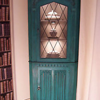 Corner cabinet, Shabby Chic, Annie Sloan, Florence(Turquoise green)leaded lights