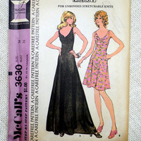 McCall's 2679 vintage sewing pattern 1970s  maxi Mini Mod Groovy Bust 36 draped neckline