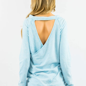 Baby Blue V Back Sweater