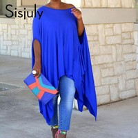 Sisjuly Plus Size Dress Blue Round Neck Sleeve Women's Day Dress Plus Size Dress