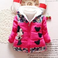 Hot Sale 2015 Winter Baby Girls Coats Kids Minnie Jackets Fashion Hooded Children Outdoor Parka Warm Flowers Cotton-padded Coats