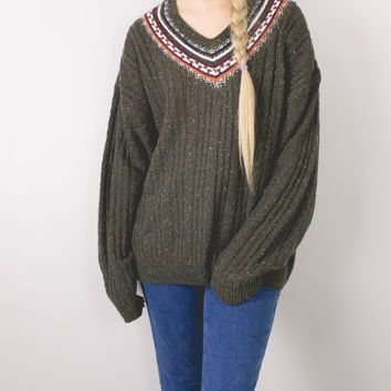 Vintage Marled Olive Green Tribal Cable Knit Sweater