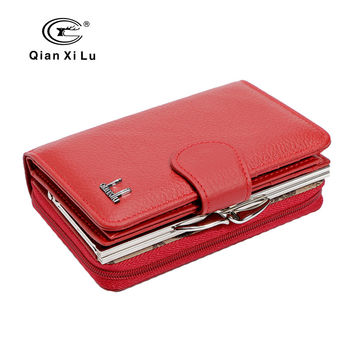Qianxilu  New Brand Women Wallets Cowhide Leather Zipper and Hasp Coin Purses Female Wallet  Gift