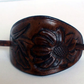 Leather hair pin, size M, hair stick, hair slide, antiqued brown, sun flower