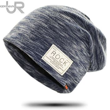 New Women And Men ROCK Cloth Mark Hat Plush Cashmere Beanie