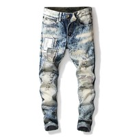 Rinsed Denim Strong Character Camouflage Vintage Plus Size Jeans [3444983464029]