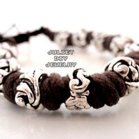 Silver bead leather bracelet