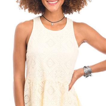 Ethereal Ease High Neck Lace Tank Top